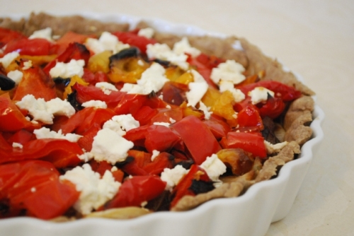 Caramelized Onion, Roasted Red Pepper and Feta Tart | Eat Love Jump